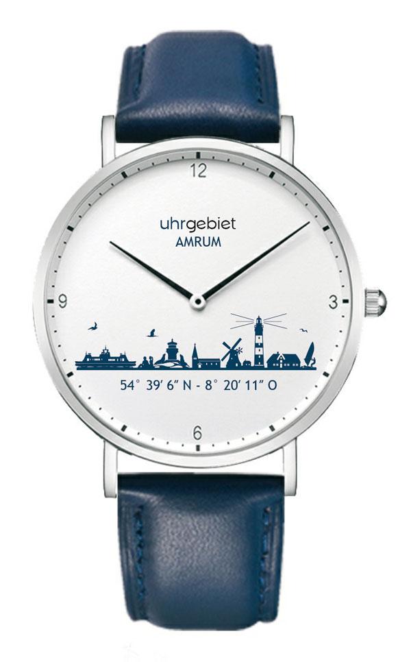 Amrum Uhrgebiet Blau Weiß